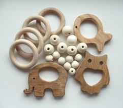 Деревянные бусины, кольца, грызунки